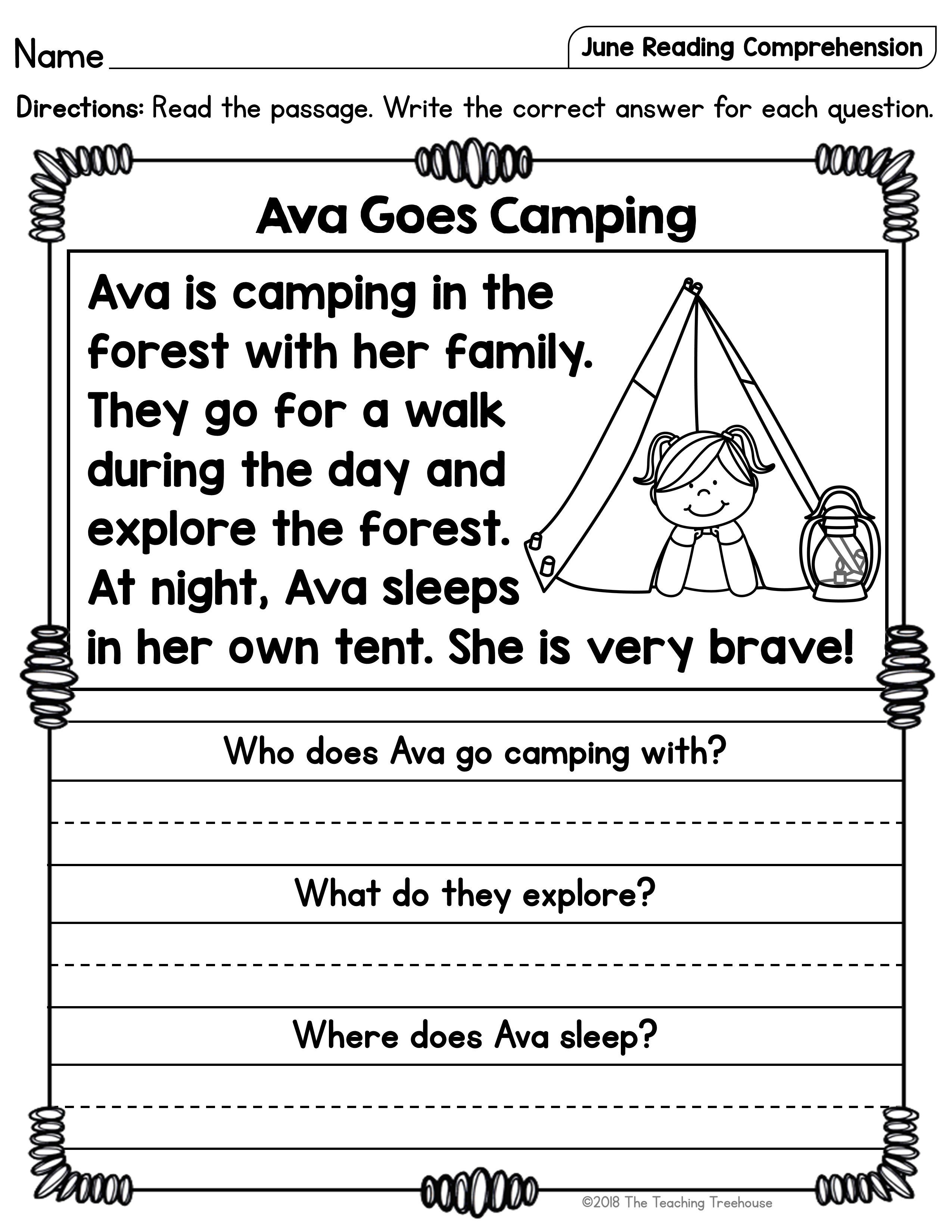 June Reading Comprehension Passages for Kindergarten and First Grade    Reading comprehension worksheets [ 3300 x 2550 Pixel ]