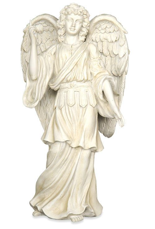 Archangel Rafael: My other favorite archangel. He is the healing angel. I call him in to help those who are sick or in pain. I call him in when I am doing energy work on family and friends as well. His energy is green. I have this statue on my dresser.