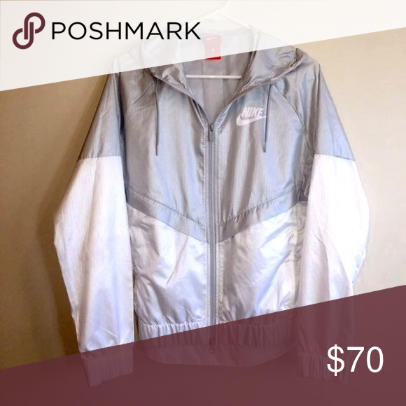 81f212287 Nike Windbreaker Nike Two Toned silver and white windbreaker Nike Jackets &  Coats