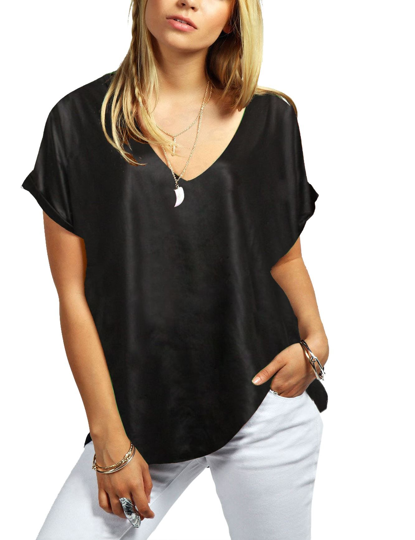 874e80e48fd New Ladies Printed Plain Turn Up Short Sleeve Baggy Loose Fit V Neck T-Shirt
