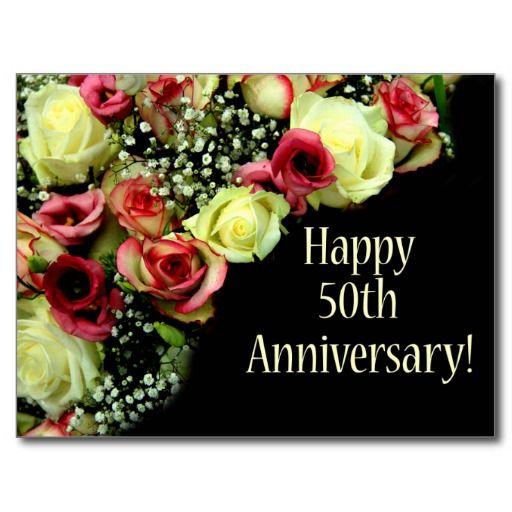 Happy 50th Anniversary Roses Postcard Zazzle Com In 2020 Happy 50th Anniversary 50th Anniversary Wishes Happy 65th Anniversary