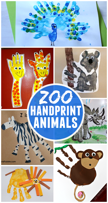 Fun Zoo Animal Handprint Crafts For Kids Crafty Morning Daycare Crafts Preschool Crafts Zoo Crafts