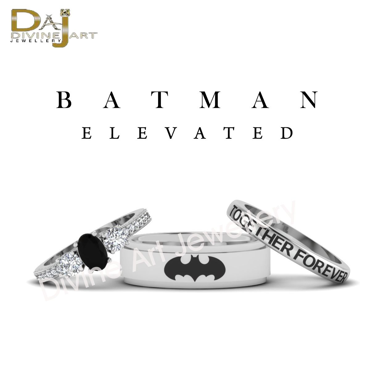 Solid 10k White Gold Batman Inspired Couple Matching 3pc Wedding Band Ring Set Metal Soli Wedding Ring Bands Set Batman Wedding Rings Couple Wedding Rings