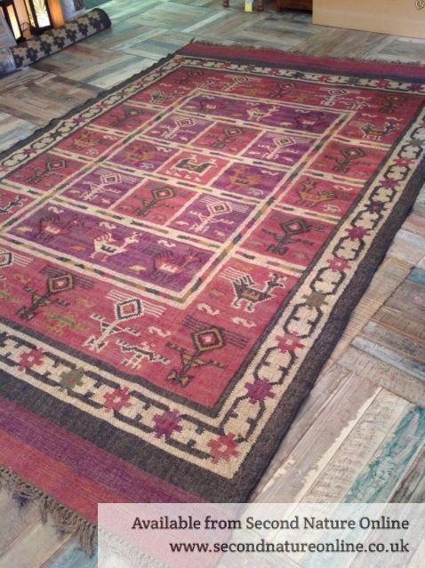 Fair Trade Jute Wool Pink Purple Grey Beige Birds Kilim Rug Various Sizes