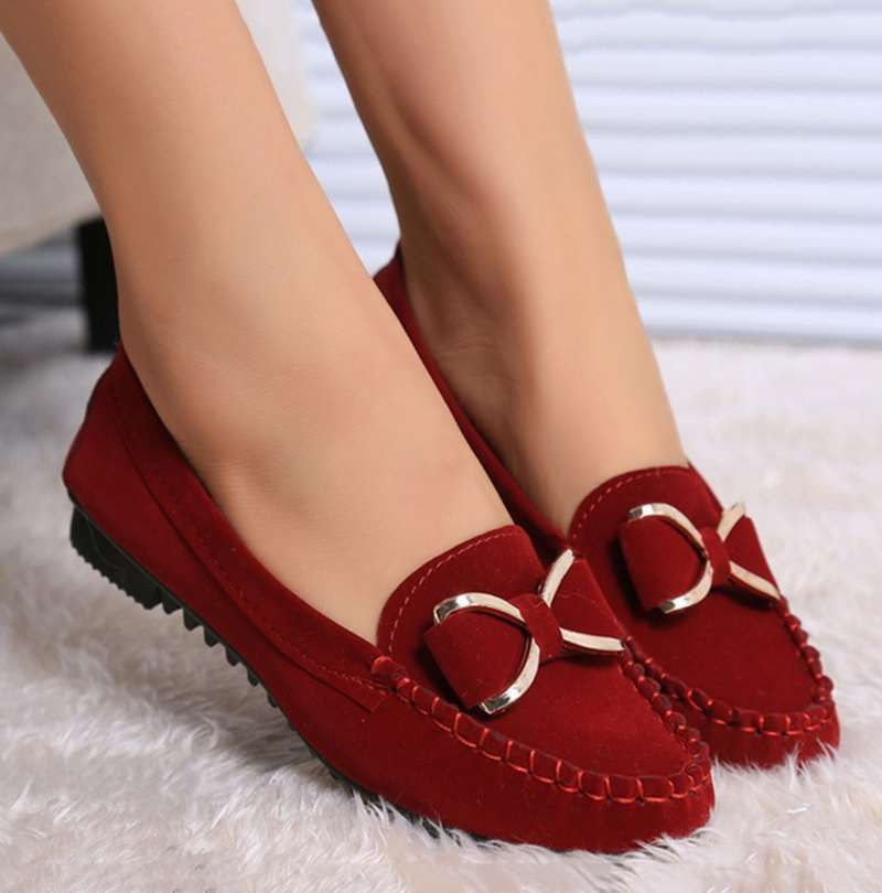 Womens Casual slip on Suede Leather Loafers Driving Lady Flats doug shoes