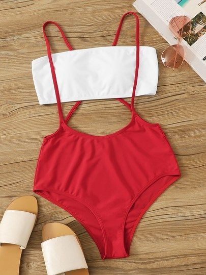 Bandeau With Criss Cross Suspender Two Piece Swimwear