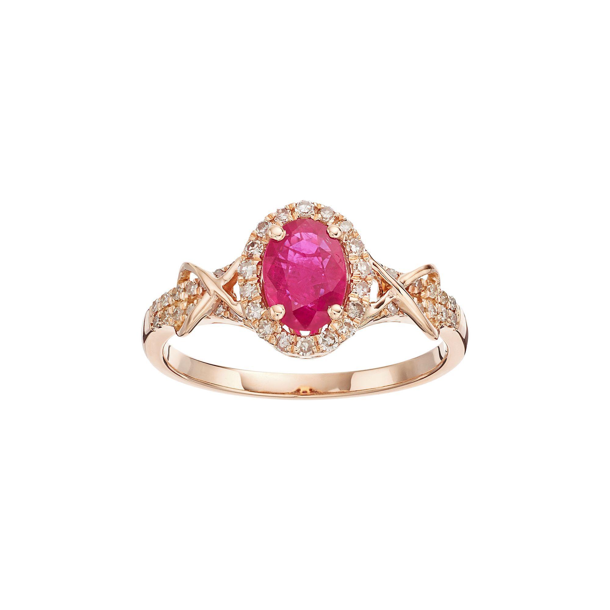 10k Rose Gold Ruby & 1/4 Carat T.W. Diamond Halo Ring, Women's, Size: 5, Red