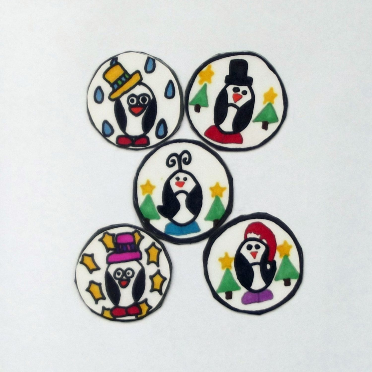 Set of 5 Penguin Magnets, Refrigerator Magnets, Penguin Magnets, Penguin Kitchen Decor, Christmas Decor, Christmas Gifts, Stocking Stuffers by YouniqueGiftShop on Etsy