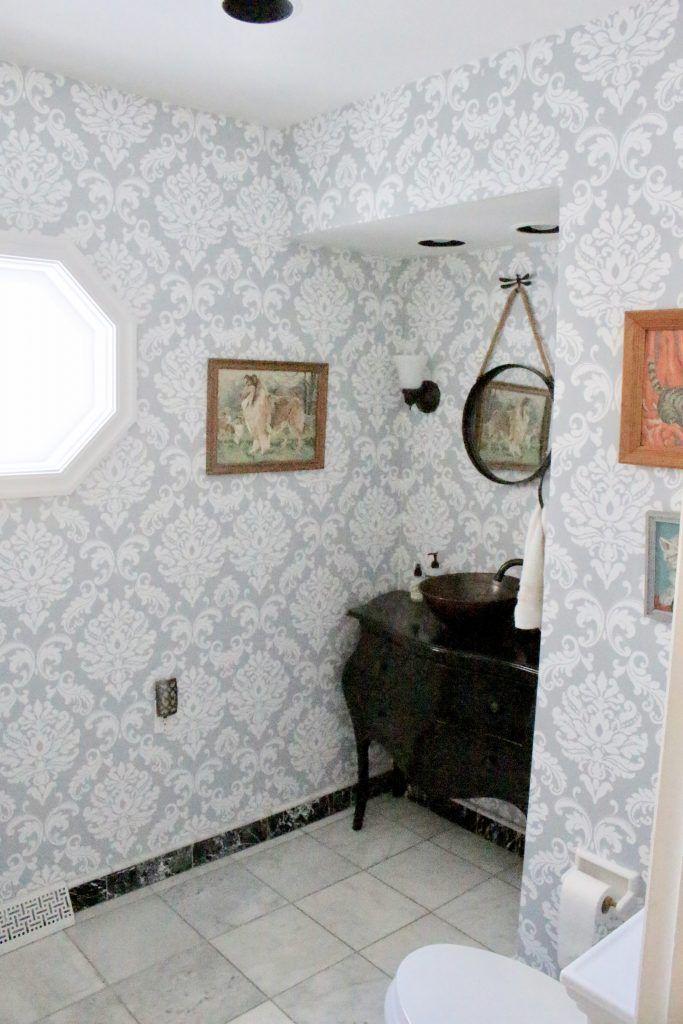 Powder Room Wallpaper Refresh White Cottage Home Living Powder Room Wallpaper Small Bathroom Decor Decorating Bathroom