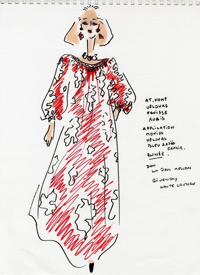 Hubert De Givenchy Design Drawing With Notes Fashion Design