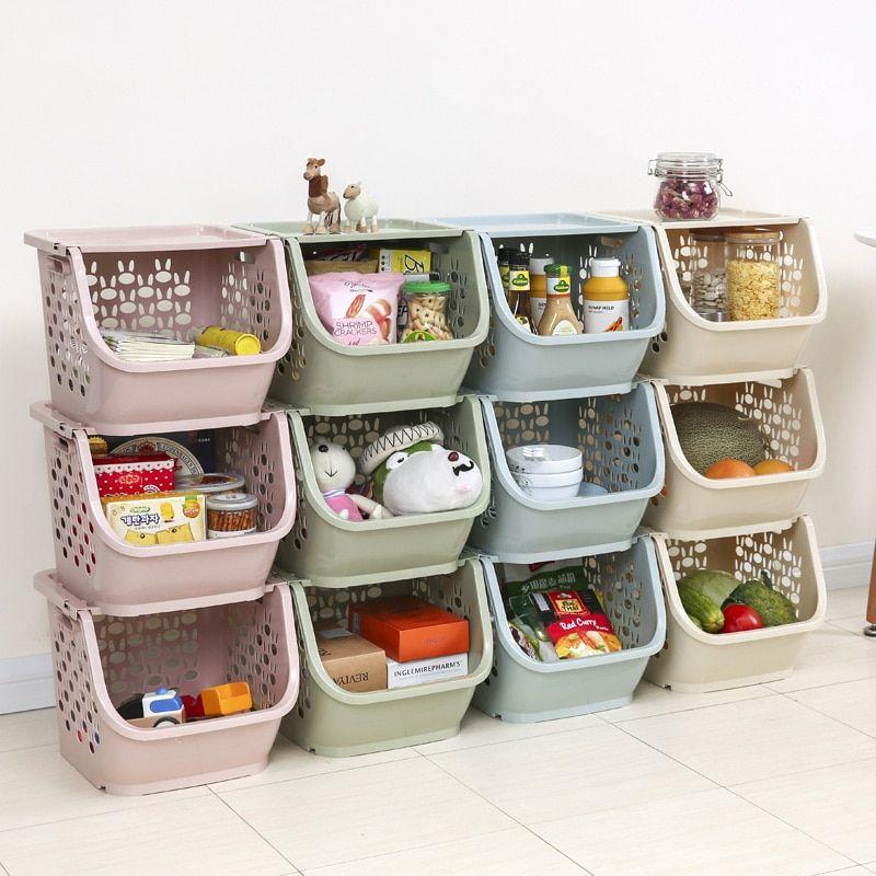 2020 Kitchen Storage Basket Plastic Multi Functional Vegetables Fruit Racks Can Stacked Storage Basket Organizers Storage Box In 2020