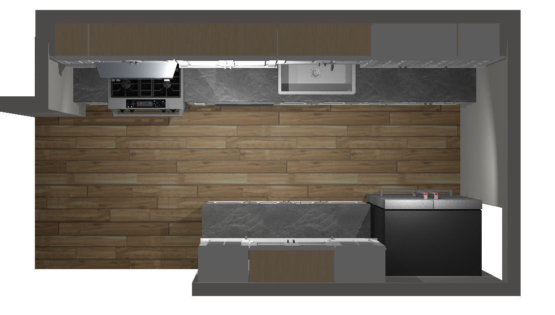 Top View Of Galley Kitchen Final Design 3d Rendition By Cliq