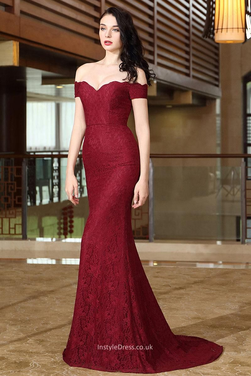 Wine lace mermaid sweep train evening prom dress clothes