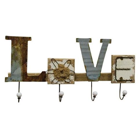 """""""LOVE"""" hanger with hooks"""