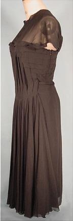 c. late 1940's/early 1950's JEAN DESSES, Paris Black Silk Chiffon Cocktail Dress. Sideway