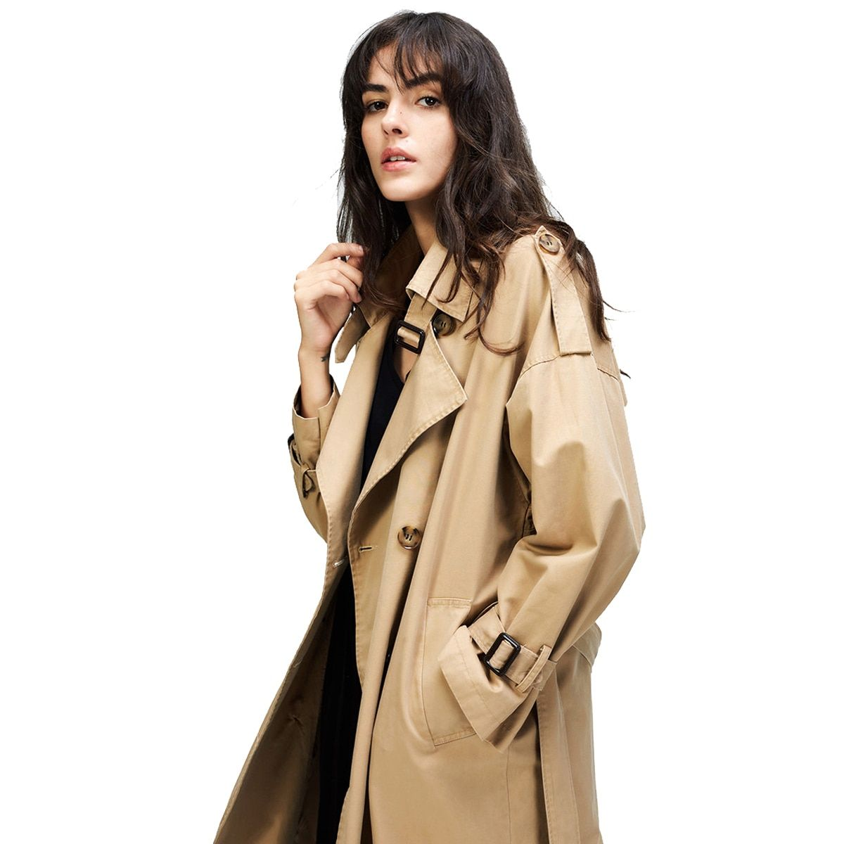 Casual Double Breasted Washed Trench Coat
