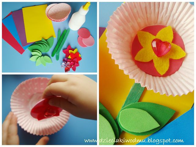 Kwiatek Z Papilotek Do Mufinek Na Dzien Babci Laurka Dla Babci Crafts For Kids Paper Gifts Crafts
