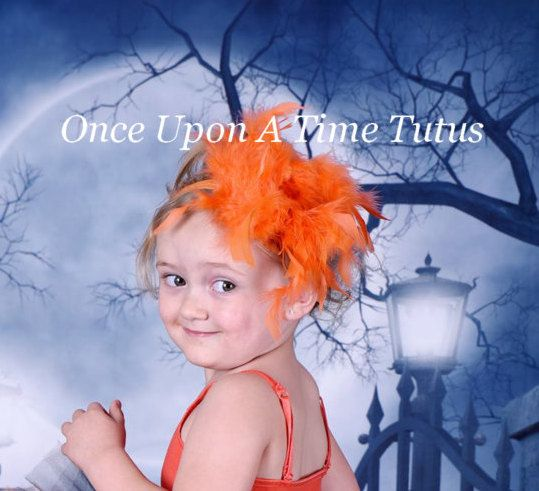 Bright Orange Feather Hair Clip - Boa HairBow - Adult Child Size Toddler Baby Fascinator Little Girls Hair Bow Bird Costume Hair Accessory by OnceUponATimeTuTus on Etsy