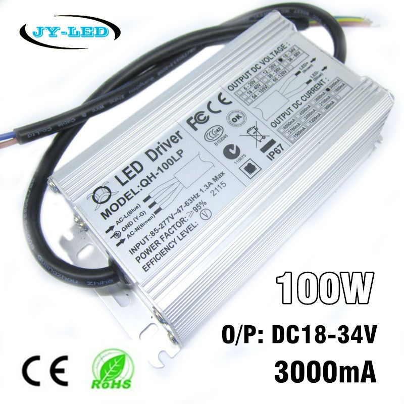 100w Led Driver 3000ma Dc18 34v Power Supply Ip67 Waterproof Constant Current Floodlight Driver For High Power Led Bead Led Drivers Power Led