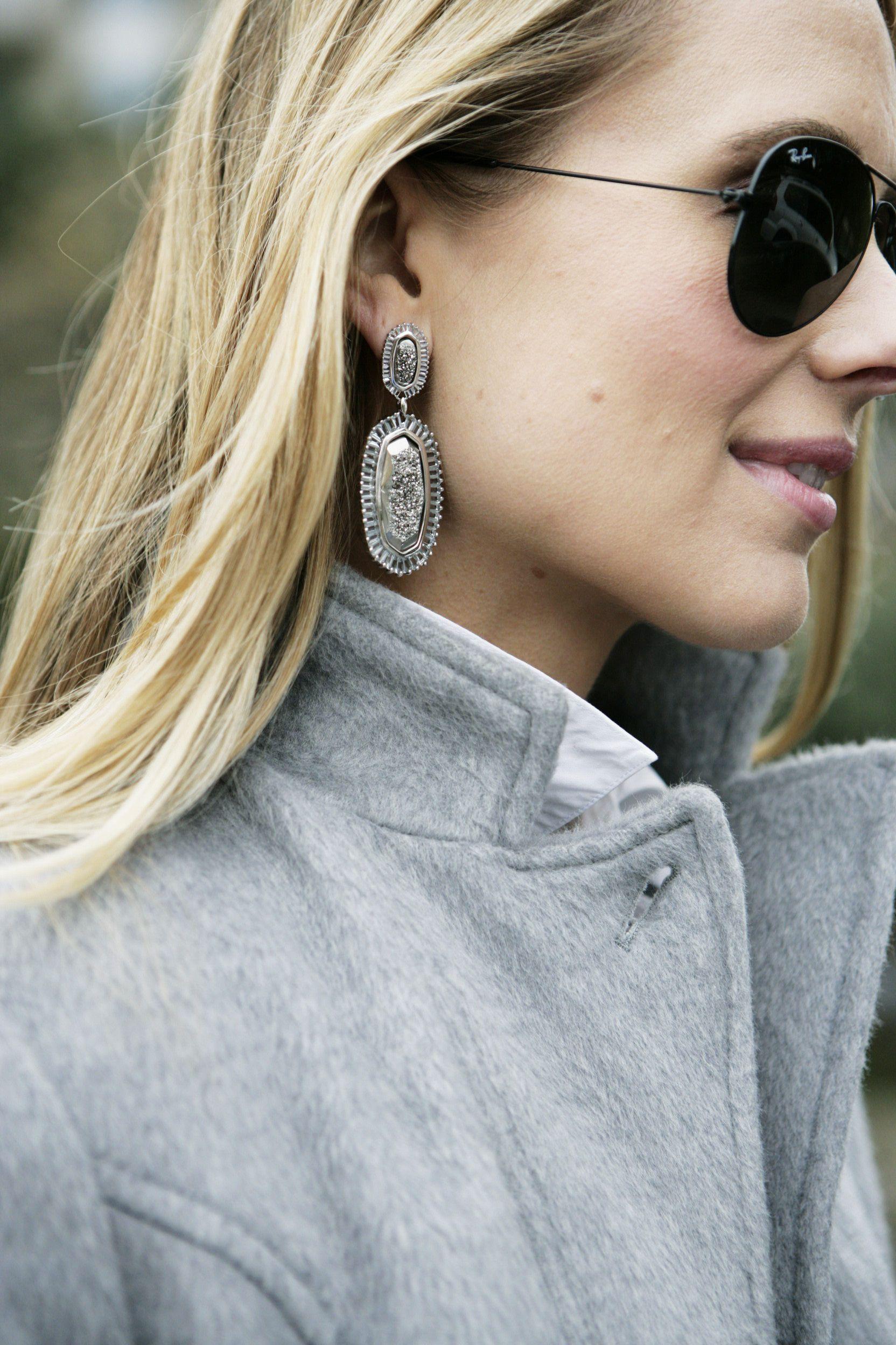 Kendra scott kaki baguette earrings in platinum drusy my style
