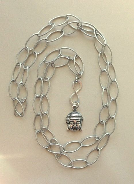 Long Silver Infinity and Buddah Necklace by MAGICALUNIVERSE