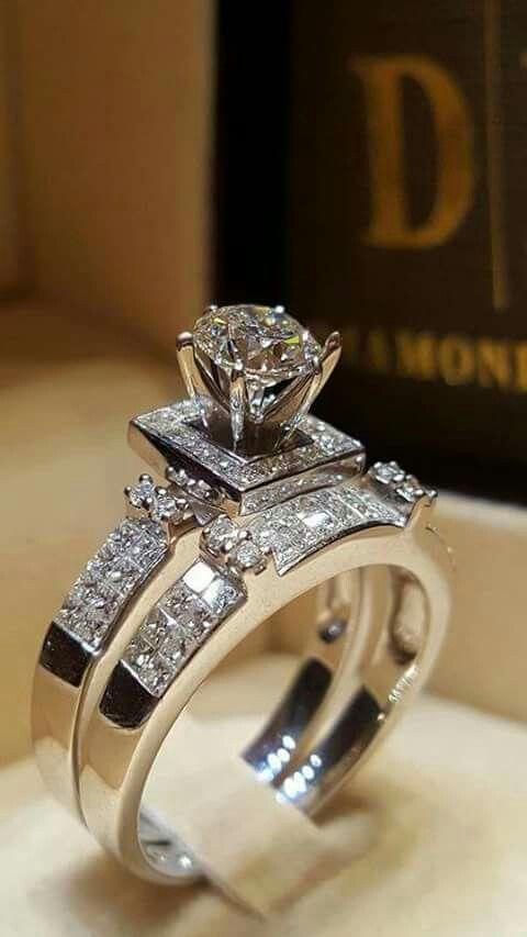 2PCS 3.64CT Huge White Sapphire Gemstone Wedding Ring 925 Silver Jewelry Sz 5-10
