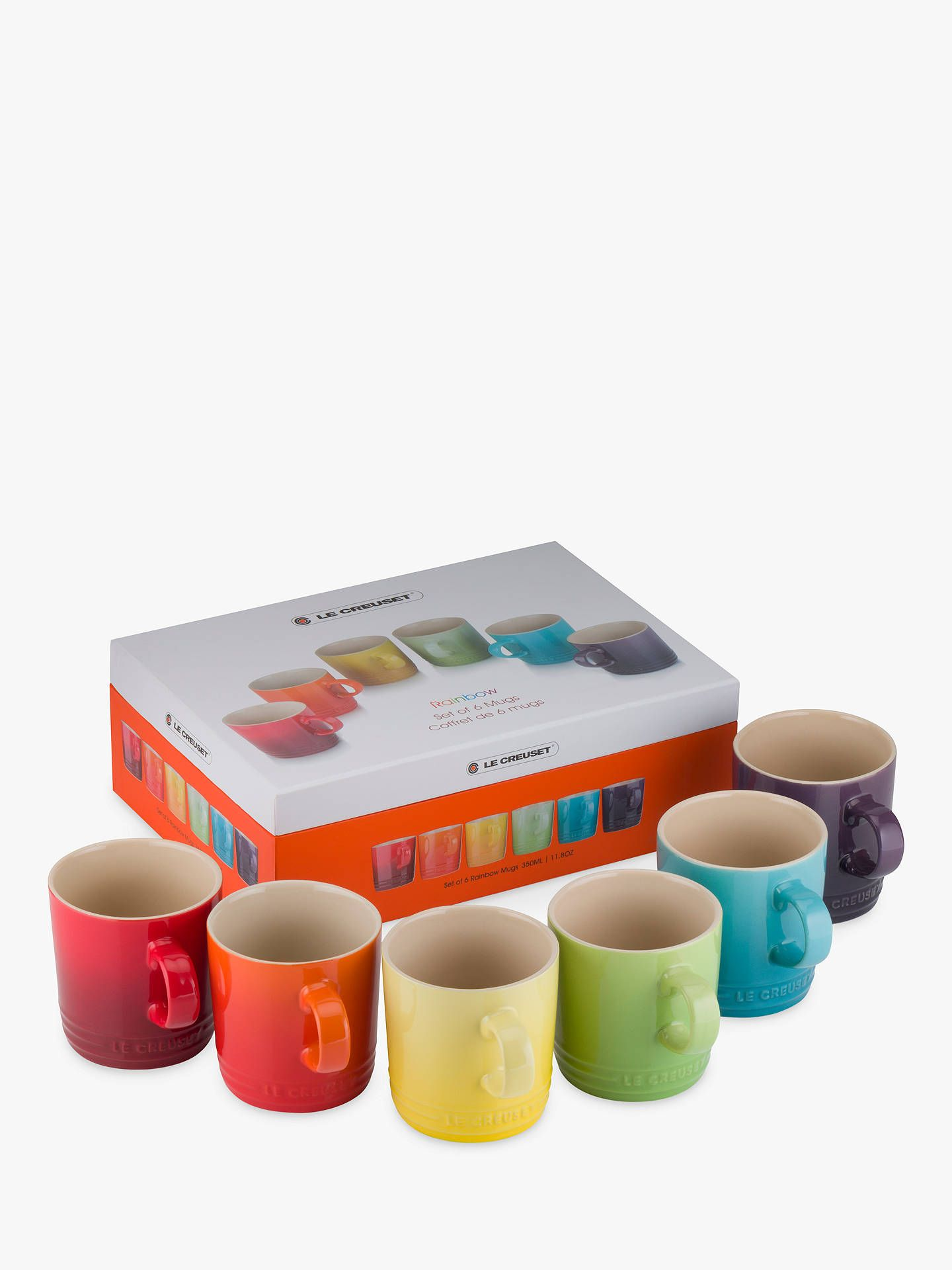 Le Creuset Stoneware Rainbow Mugs 350ml Set Of 6 Assorted Le Creuset Stoneware Mugs Stoneware