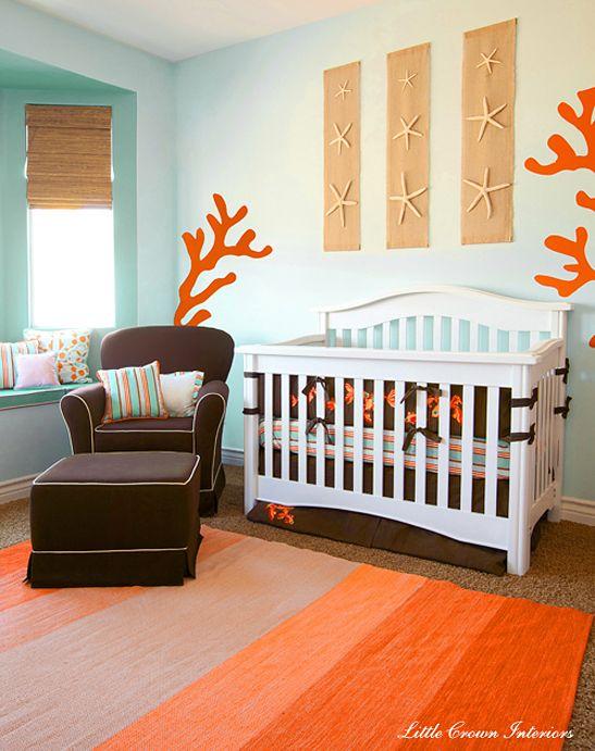 Chambre Bebe Turquoise Et Corail Theme Plage Idées Bébé - Plage chambre sur le theme des idees de decoration