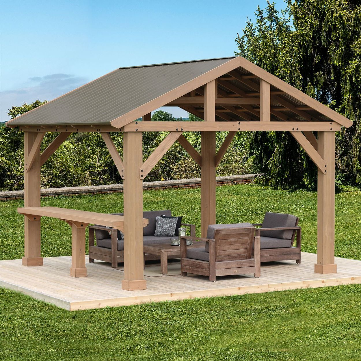 12 Pavilion Bar Counter Backyard Pavilion Patio Gazebo Rustic Pergola