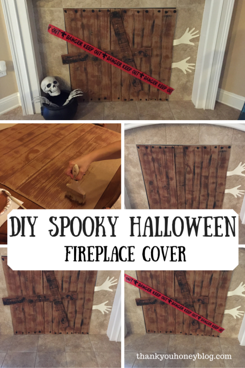 DIY Spooky Halloween Fireplace Cover - Thank You Honey