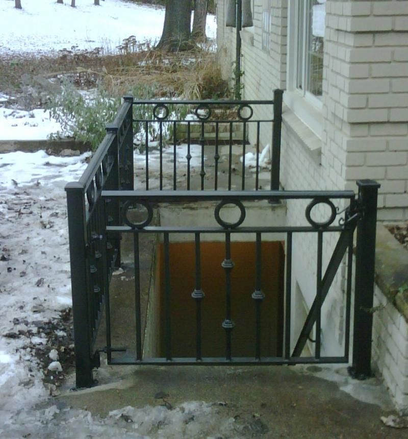 Exterior Railing Gate Stairs To Basement   Outdoor Basement Stairs