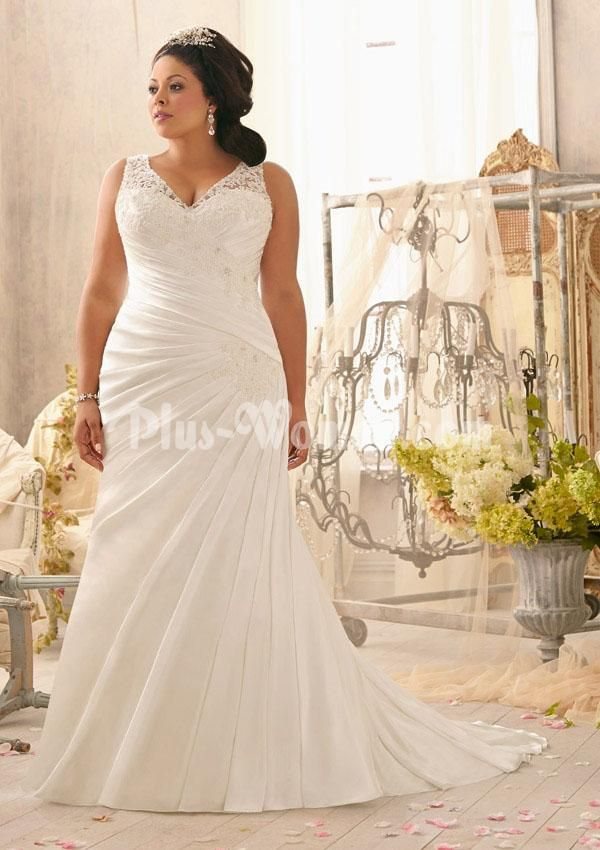V-neck Ruched Satin Fit and Flare Plus Size Wedding Dress ...