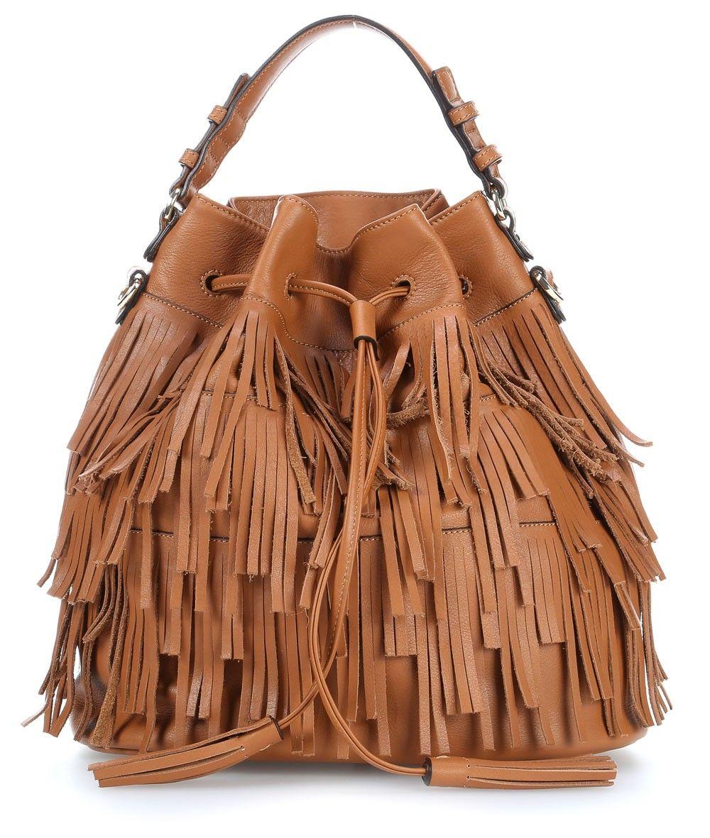 Wardow Com Bag Boho Abro Calf Velvet Beuteltasche Leder Braun