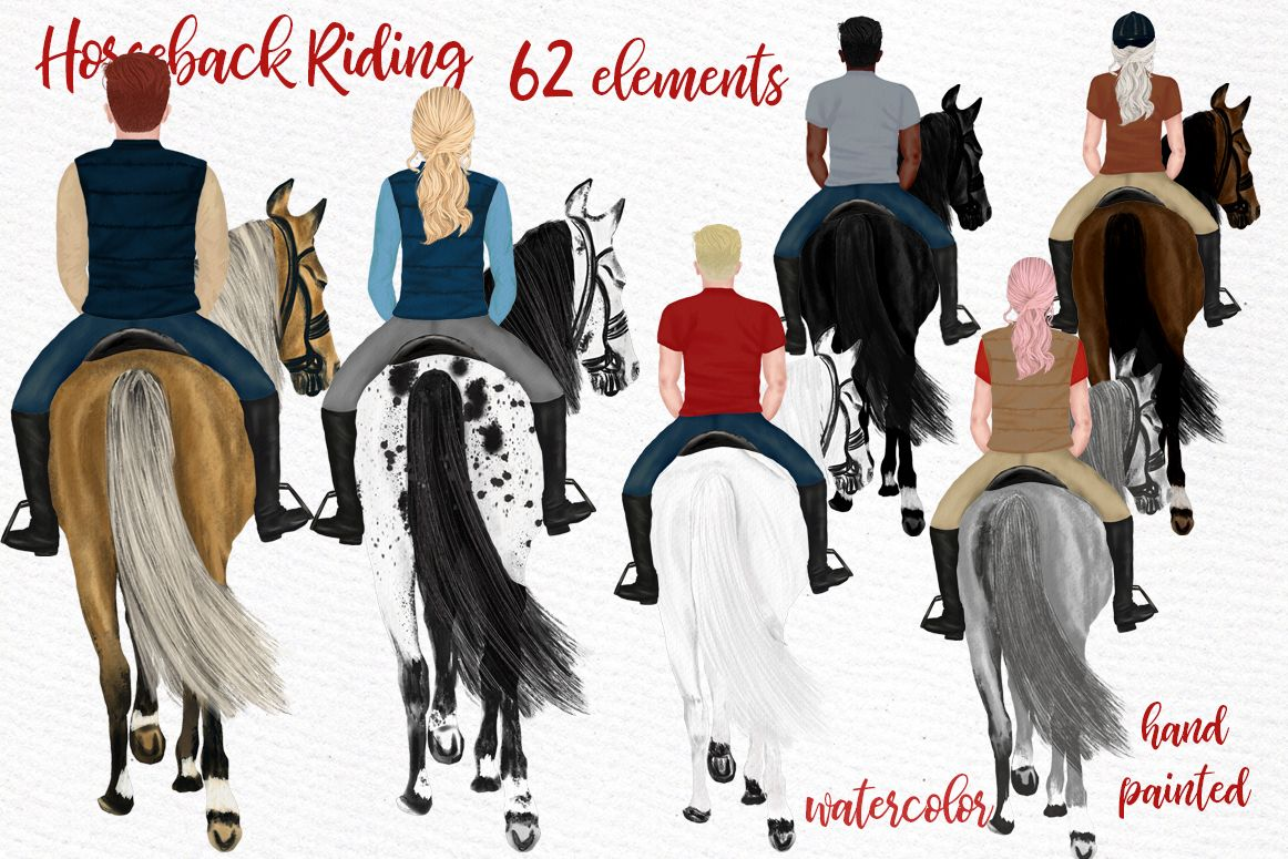 This Is A Great Set Of High Quality Hand Painted Watercolor Horseback Clipart The Zip File Contains 62 Png Files High