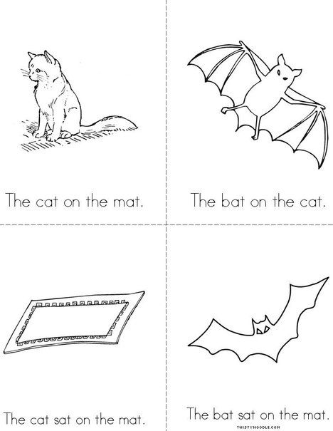 The Cat On The Mat Free Mini Book From Twistynoodle Com Mini Books Word Families Word Family Books