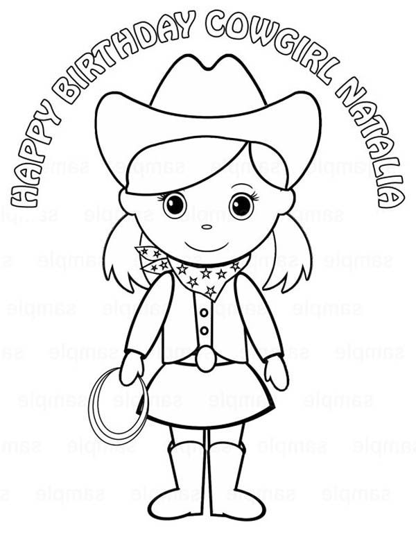 Birthday Cowgirl Coloring Page