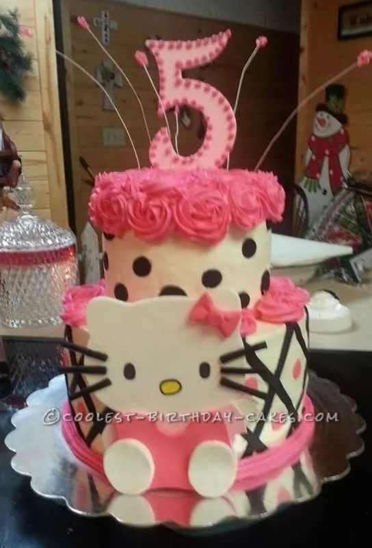 Admirable Coolest Hello Kitty 5Th Birthday Cake With Images 5Th Birthday Funny Birthday Cards Online Bapapcheapnameinfo