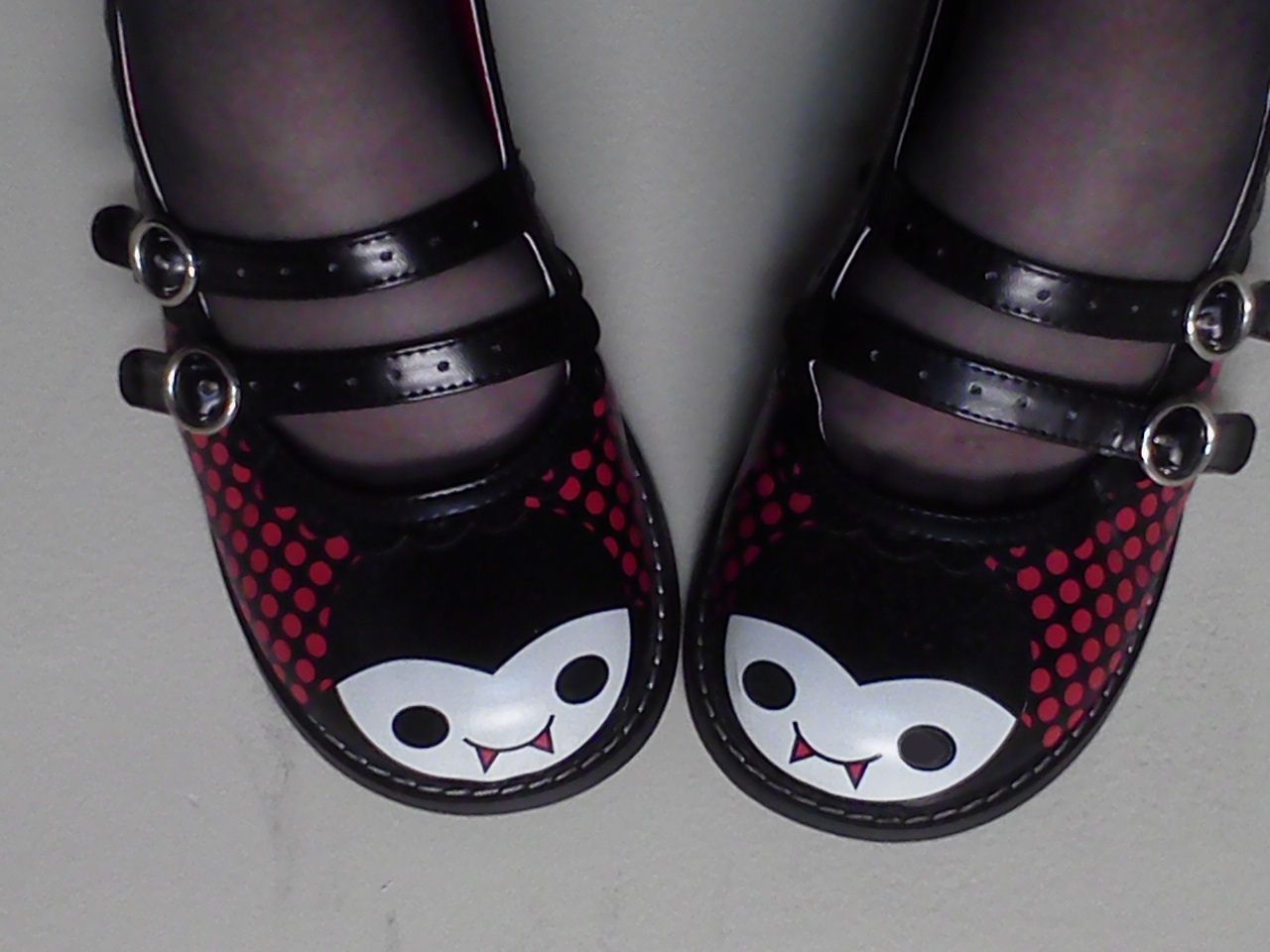 These are my favorite shoes.  They are so cute and have little vampire faces. The fabulous T.U.K. made them.