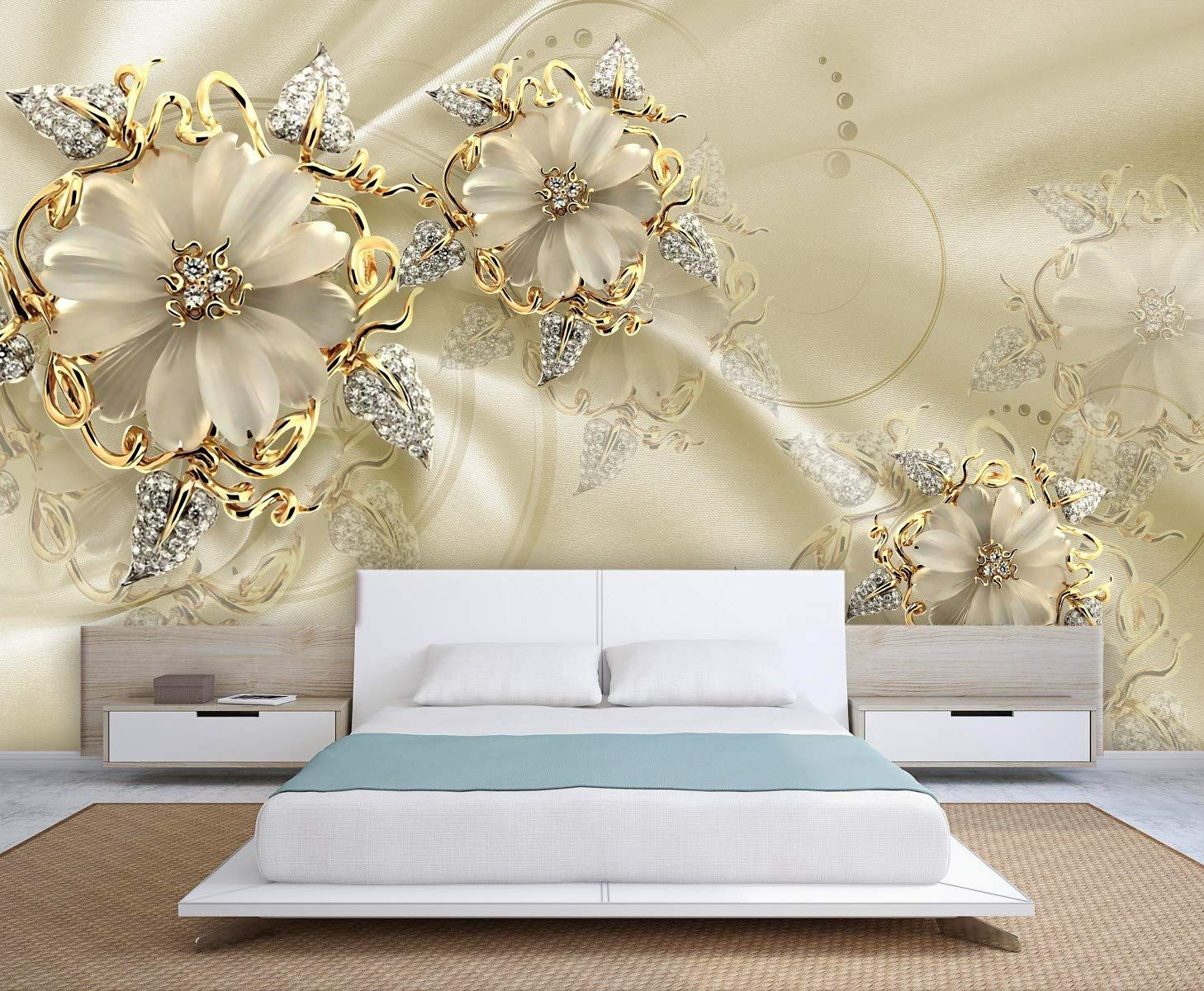 Golden Flowers And Pearly Leaves Wallpaper In 2020 3d Wallp