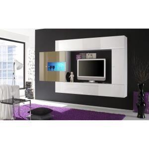 ensemble meuble tv mural laqu glossy a option achat vente - Meuble Tv Blanc Glossy