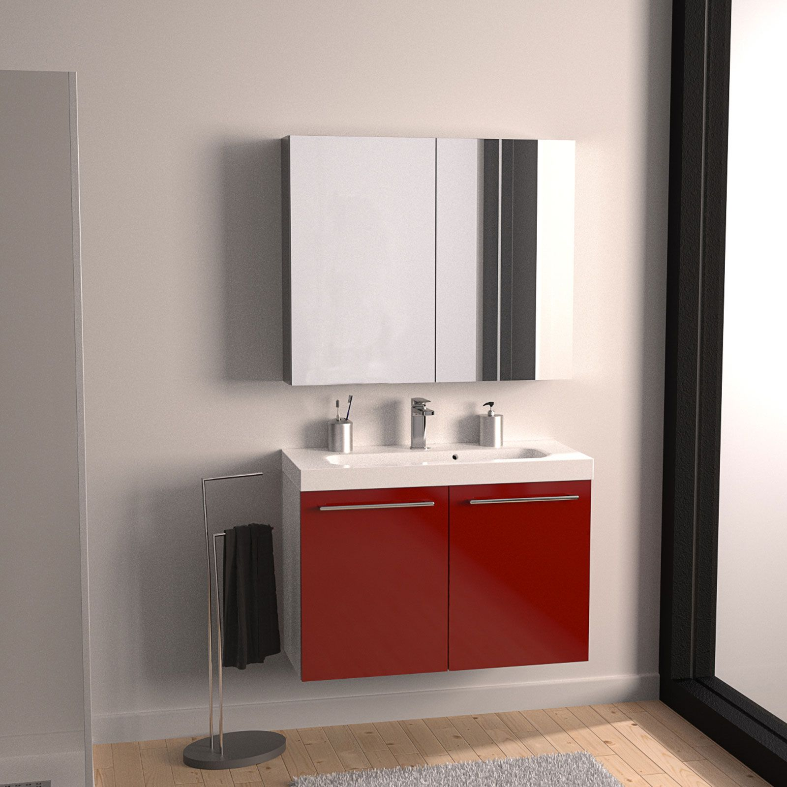 Ha finitura rosso lucido il mobile lavabo Remix 2 di Leroy Merlin