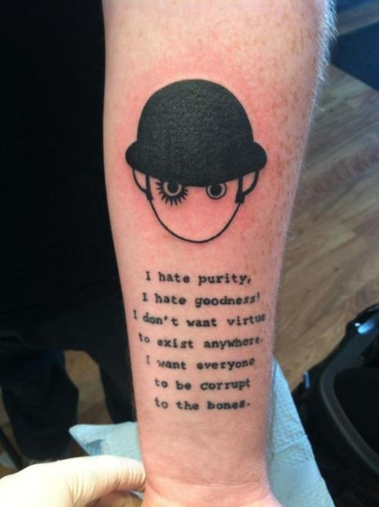 a55d809aeff90 A Clockwork Orange Writer Tattoo, Book Tattoo, Tattoo Quotes, Bookish  Tattoos, Literary