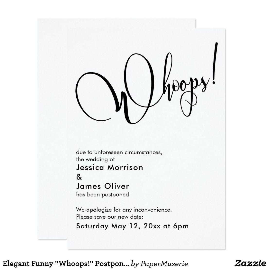 Elegant funny whoops postponed wedding card zazzle