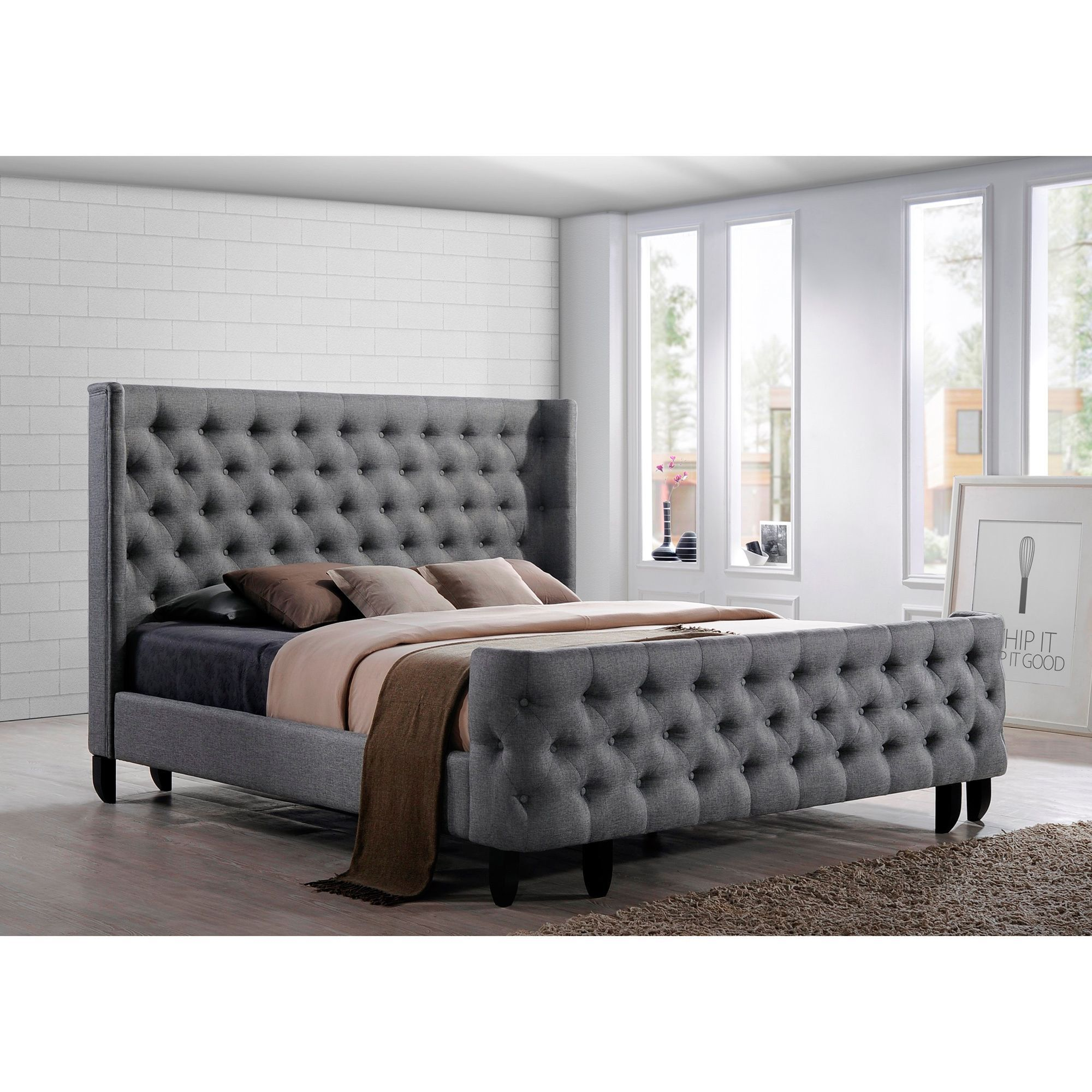 Wood Frame Gray Fabric Button Tufted Upholstered King Size Bedroom Headboard