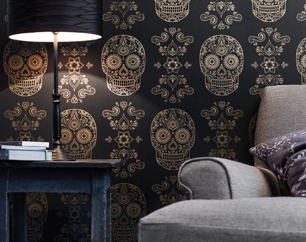 Mexican Day Of The Dead Sugar Skull Wallpaper 1 Design Decor Rhpinterest: Sugar Skull Home Decor At Home Improvement Advice