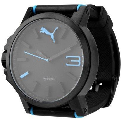 O Relógio Puma Ultrasize Preto e Azul Turquesa é aquele modelo para quem  não tem medo 9bb2ed4f8f