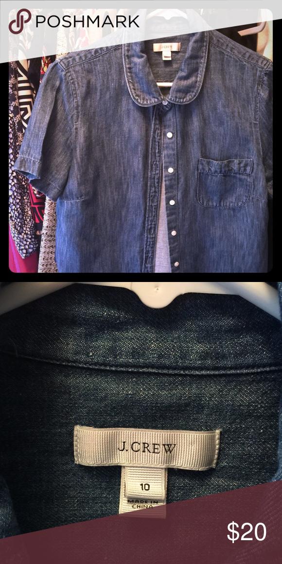 JCrew denim shirt Soft denim short sleeved top with rounded collar. J. Crew Tops