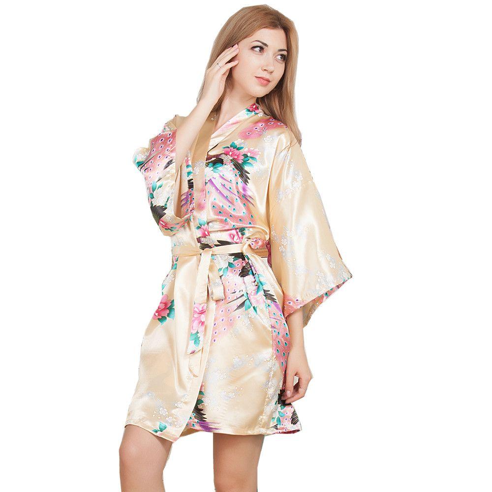 New Wedding Bride Bridesmaid Robe Floral Bathrobe Short Kimono Night ...