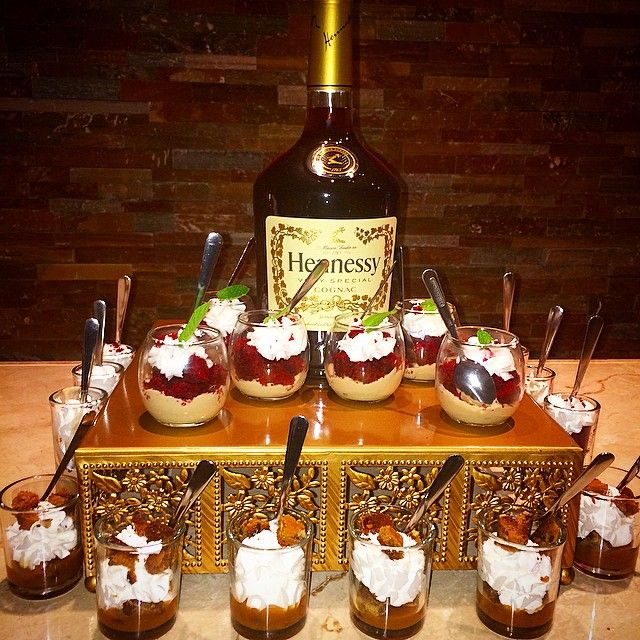 Liquor Bottle Cake Decorations: Red Velvet Hennessy, And Carmel Cookie Mini Parfaits
