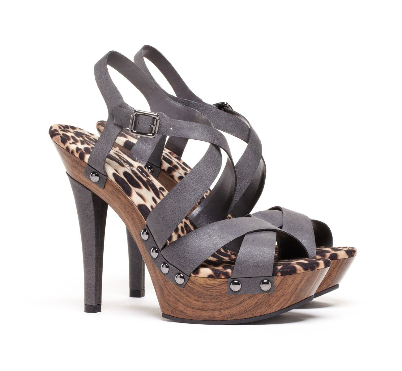 Strappy platform sandal with animal printed design and stud detail